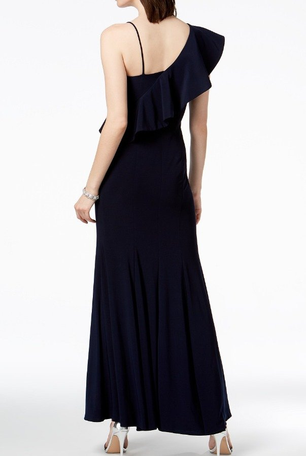Xscape Navy Blue Asymmetrical Ruffle Gown | Poshare