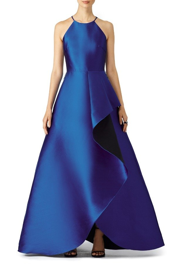Badgley Mischka Cobalt Blue Ruffle Ball Gown Prom Dress