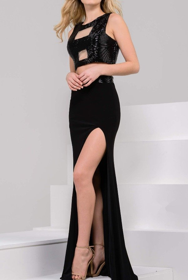 Jovani 37521 Black Beaded Two Piece Prom Dress with Slit