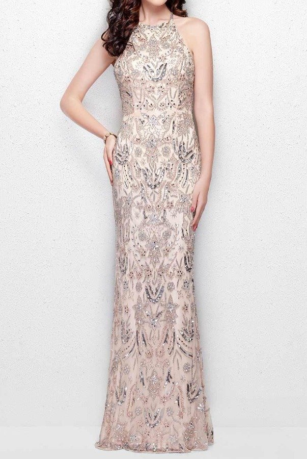 Primavera Couture 3007 Blush Beaded Halter Evening Gown Prom Dress