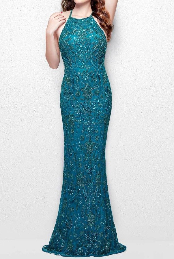 Primavera Couture 3007 Teal Beaded Sequin Evening Gown Prom Dress