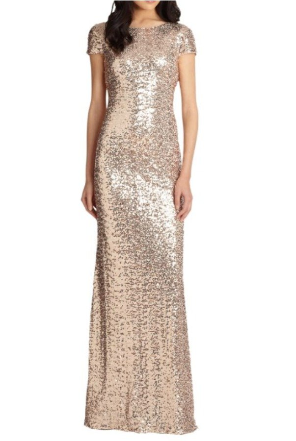 Badgley Mischka Blush Cowl Back Sequin Gown  Cap Sleeve