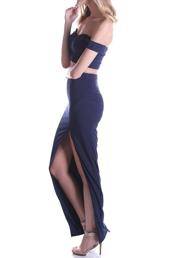 Lending Luxury Couture Sideline Slit Two Piece Midnight Blue Prom Dress