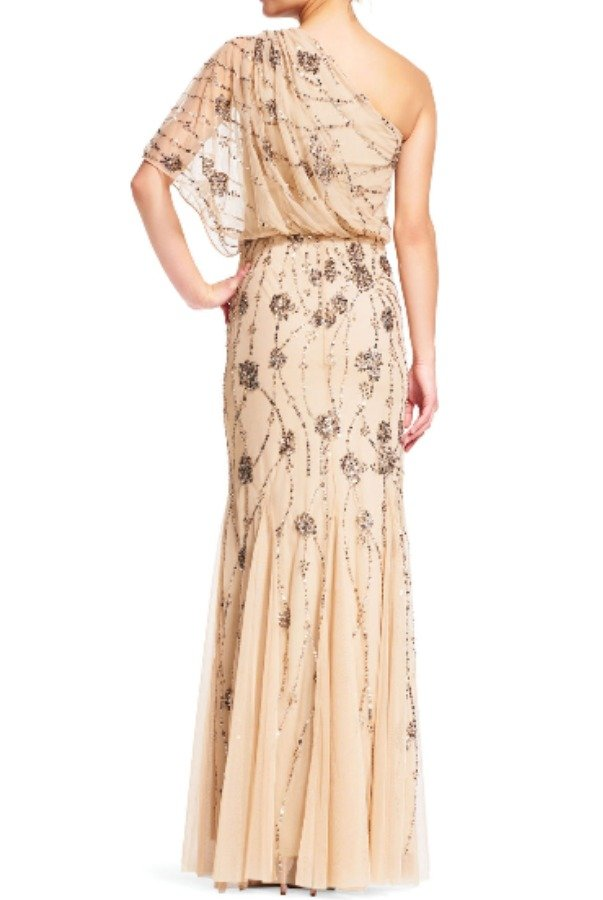 Adrianna Papell One Shoulder Beaded Blouson Gown in Nude
