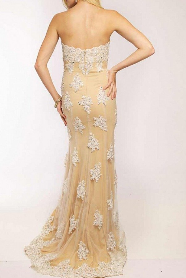 Jovani JVN92589 Strapless Lace Gown White Nude