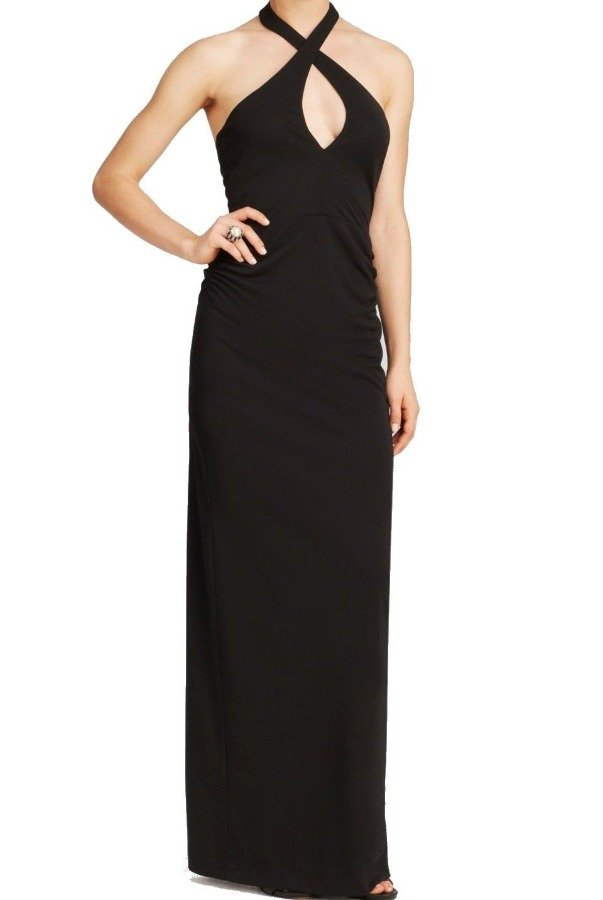 Nicole Miller Black Halter Keyhole Elegant Evening Gown Dress | Poshare