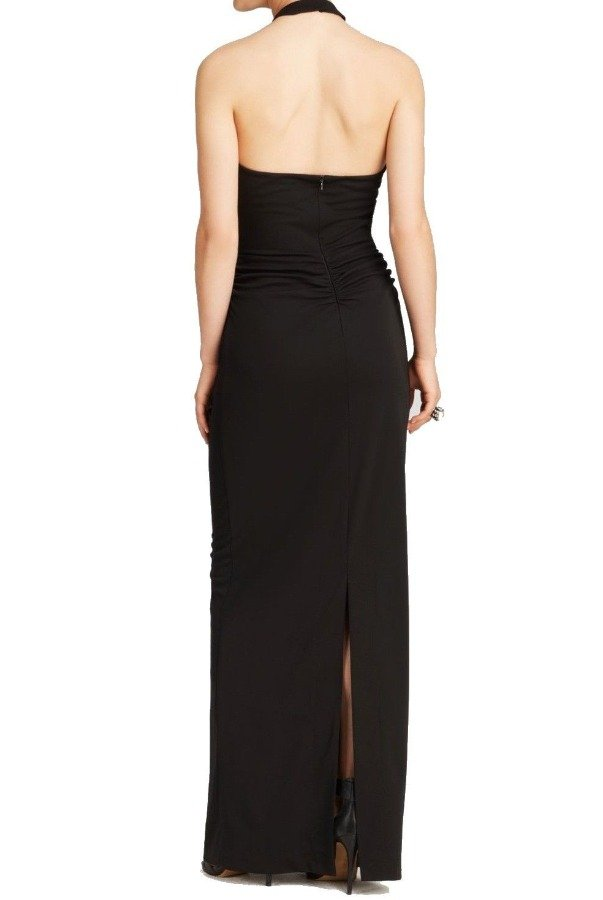 Nicole Miller Black Halter Keyhole Elegant Evening Gown Dress