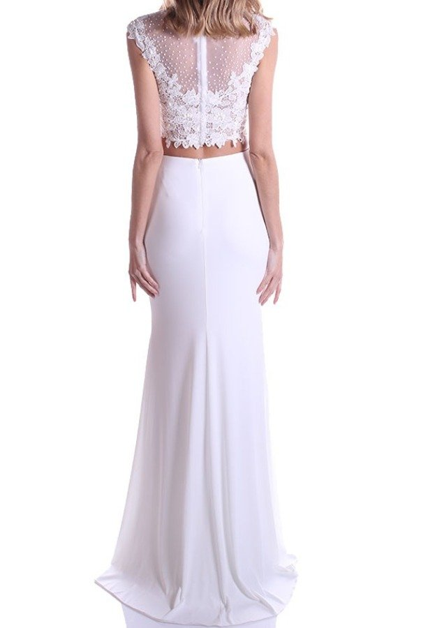 Clarisse Ivory Lace Beaded Two Piece Gown Bridal Dress