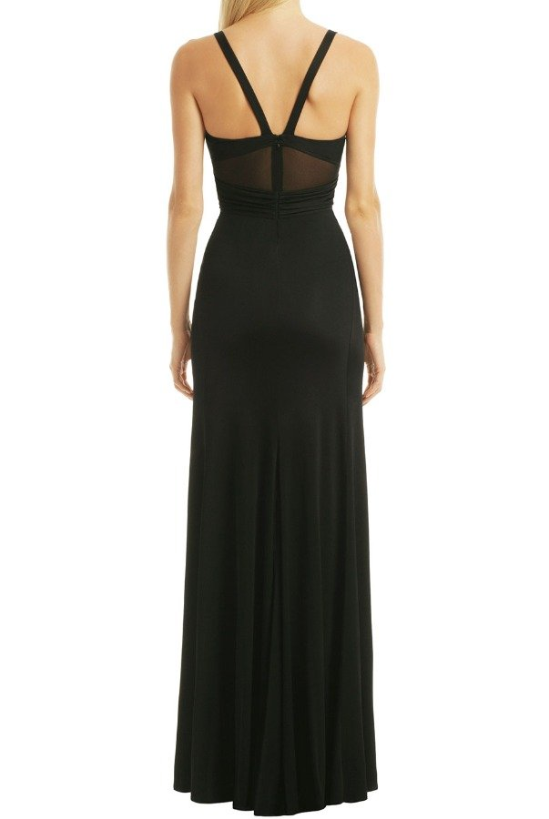 Versace Black Deep V Neck Column Gown Dress with Slit