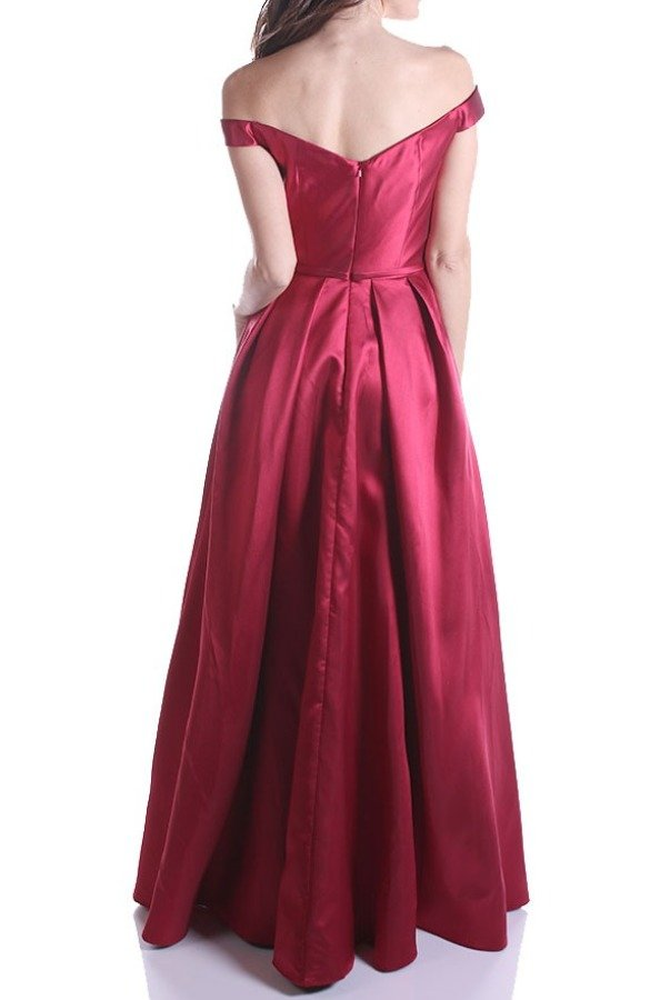 Nox Anabel C007 Burgundy Off Shoulder A Line Satin Ball Gown