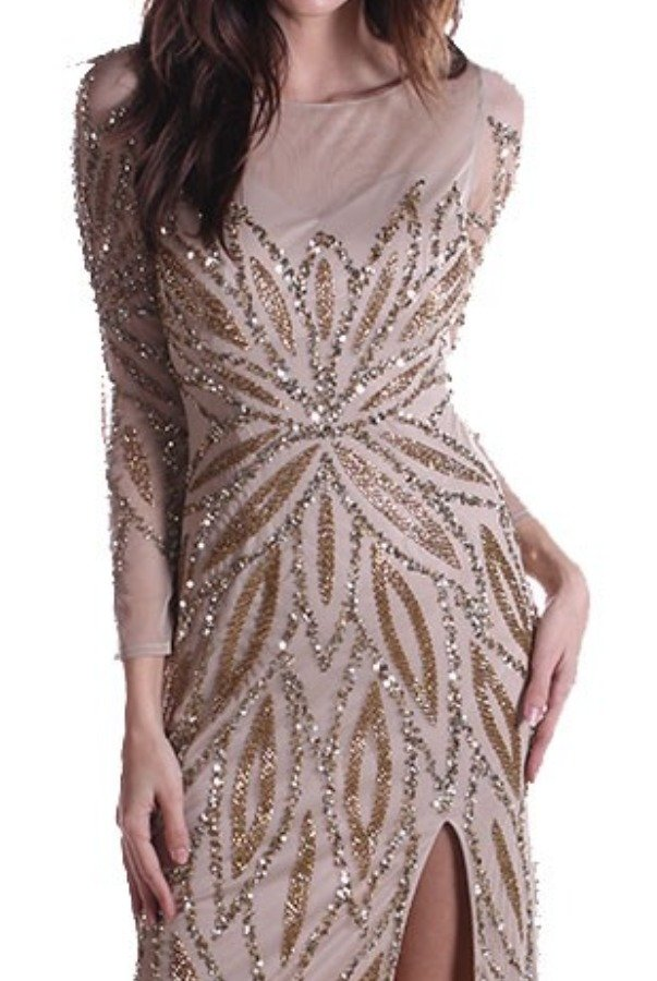 Clarisse Nude Gold Beaded Sequin Long Sleeve Gown Dress