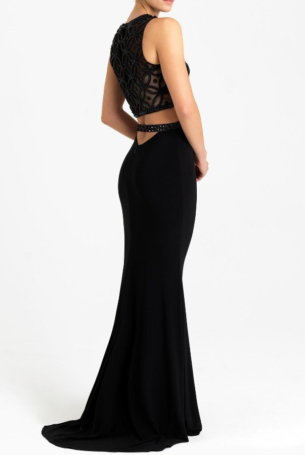 Madison James Black Beaded Shimmer Two Piece Evening Prom Dress