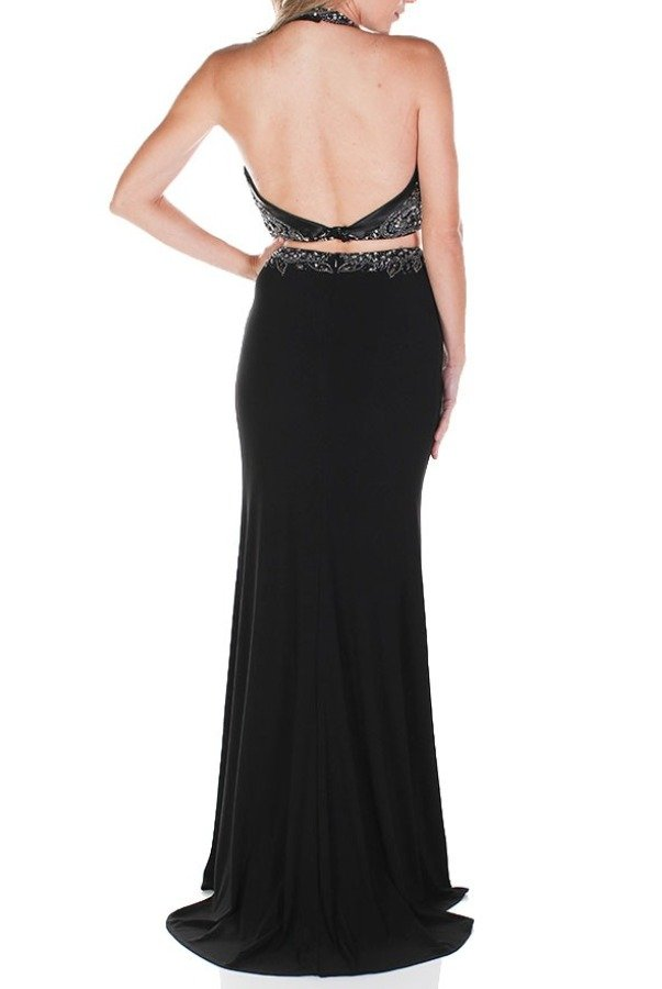 Clarisse Black Beaded V Neck Two Piece Gown Prom Dress