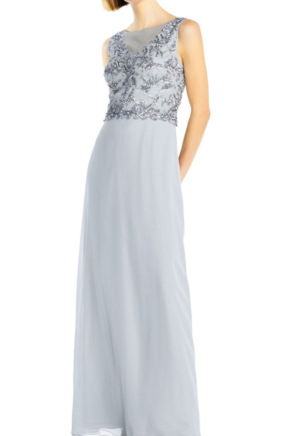 Adrianna Papell Blue mist georgette sleeveless gown beaded bodice