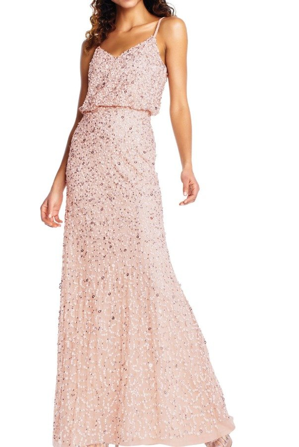 Adrianna Papell Blush Sequin Beaded Blouson Gown Spaghetti Straps