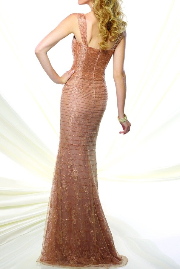 Mon Cheri 116938 Sleeveless Beaded Gold Metallic Gown