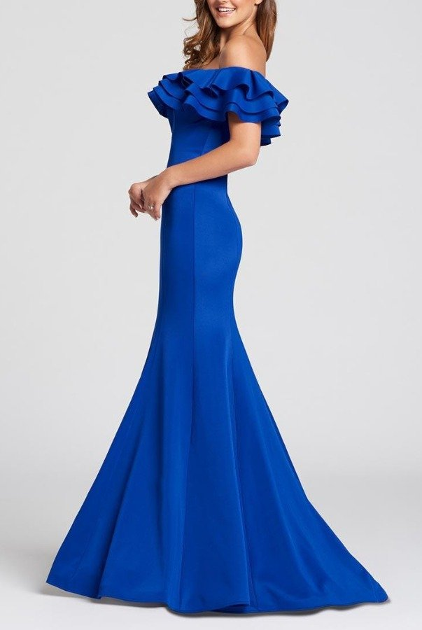Ellie Wilde Royal Ruffle Off Shoulder Evening Gown EW118004