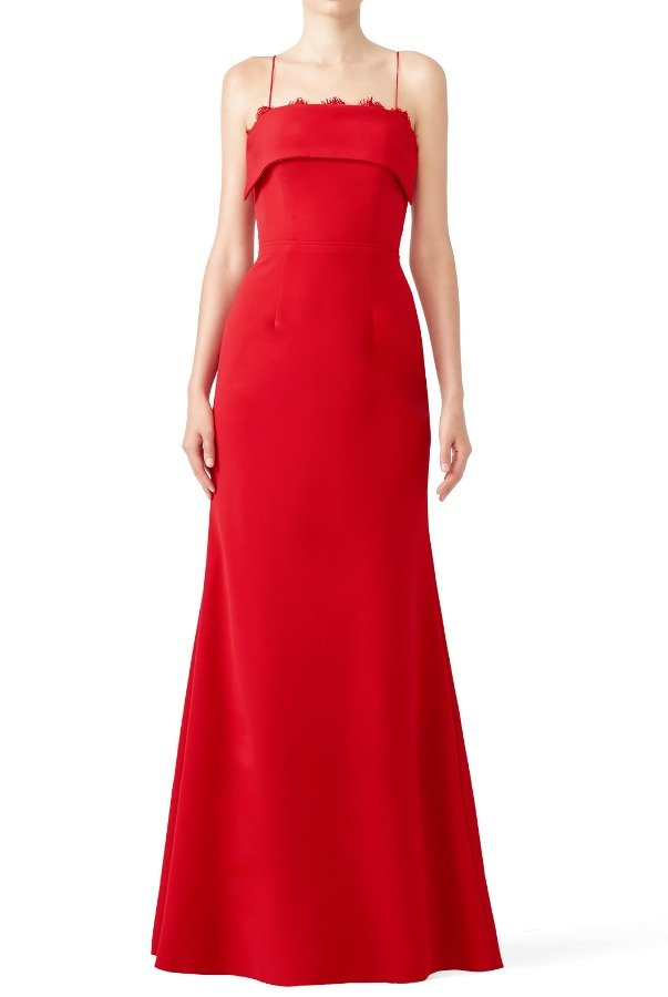 JS Collections Cherry Red Crepe Gown Evening Dress