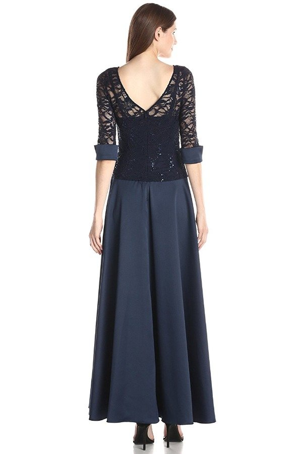 JS Collection Navy Sequin Lace Sleeve Gown Evening Dress