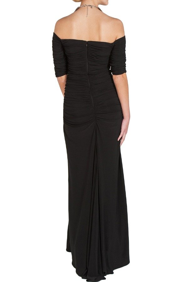 Badgley Mischka Black Off Shoulder Jersey Gown Evening Dress