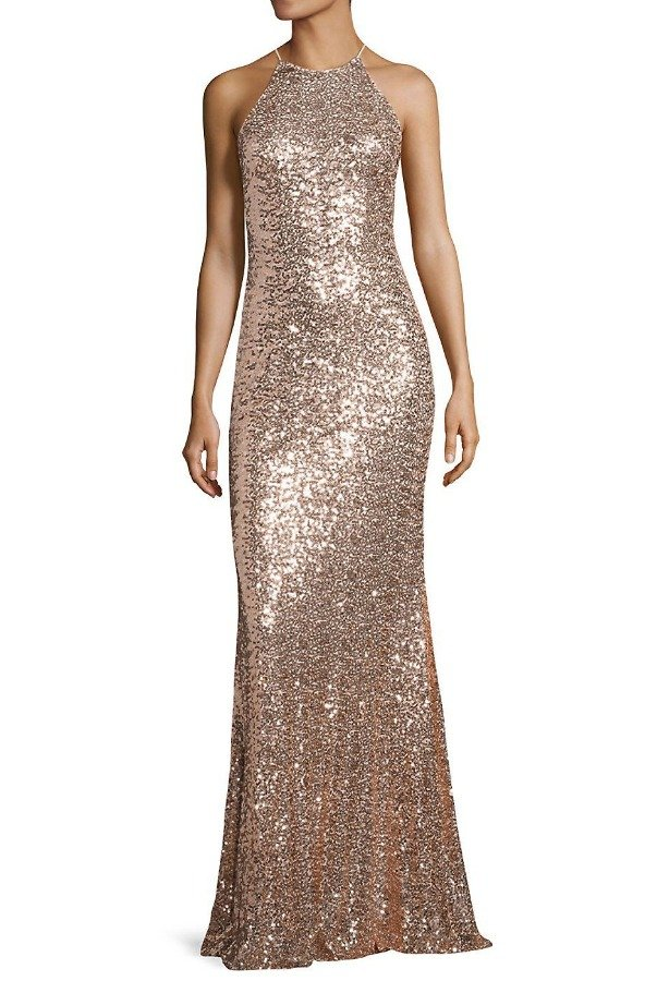 Badgley Mischka Gold Blush Sequin Halter Gown evening Dress