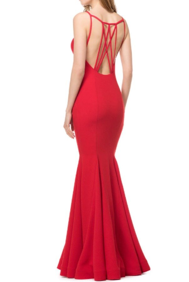 Colors Dress 1539 Cutout Open Back Evening Dress Red