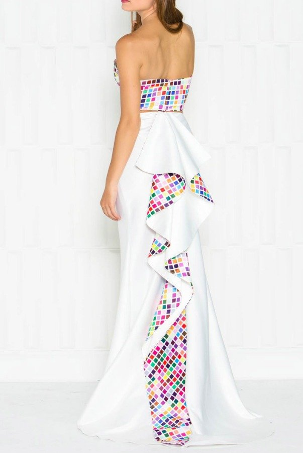 Colors Dress White Two Pice Ruffle Back Geometric Gown