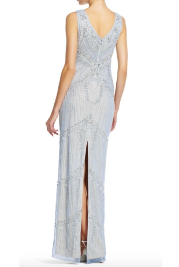Adrianna Papell Blue Heather raindrop beaded column dress v back