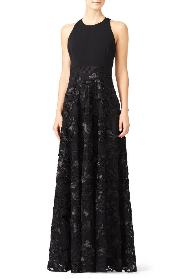 Badgley Mischka Black A line Gown Embellished Lace Ball Gala