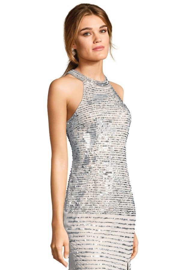Adrianna Papell sequin beaded halter gown with slit skirt
