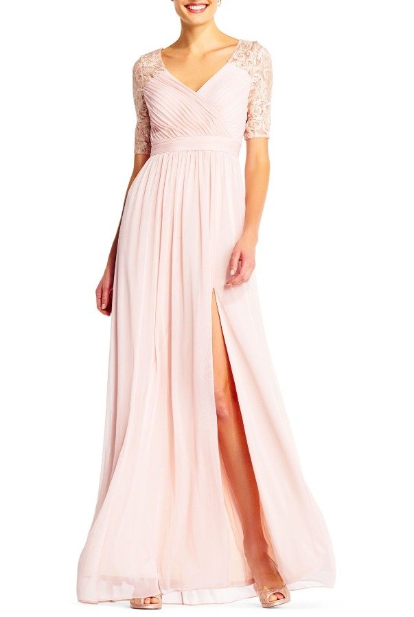 Adrianna Papell BLUSH PIN TUCKED TULLE GOWN LACE SEQUIN DRESS