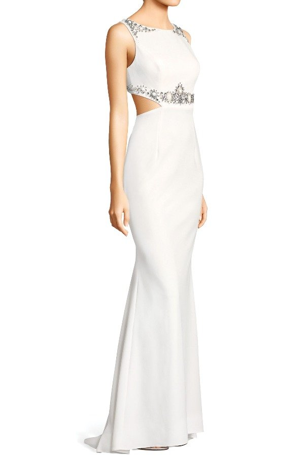 Adrianna Papell White Beaded Crepe Gown with Cutout and Open Back