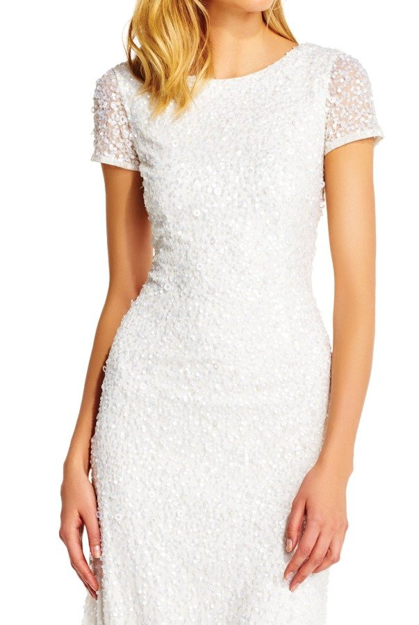 Adrianna Papell Scoop Back Ivory White Sequin Gown