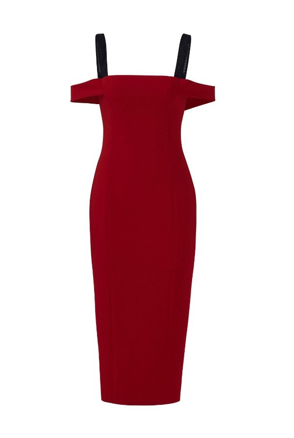 Cinq a Sept Dark Red Off Shoulder Midi Cocktail Dress