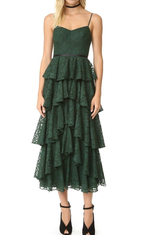 Cynthia Rowley Burgundy Red A Line Tiered Lace Lucy Midi Dress