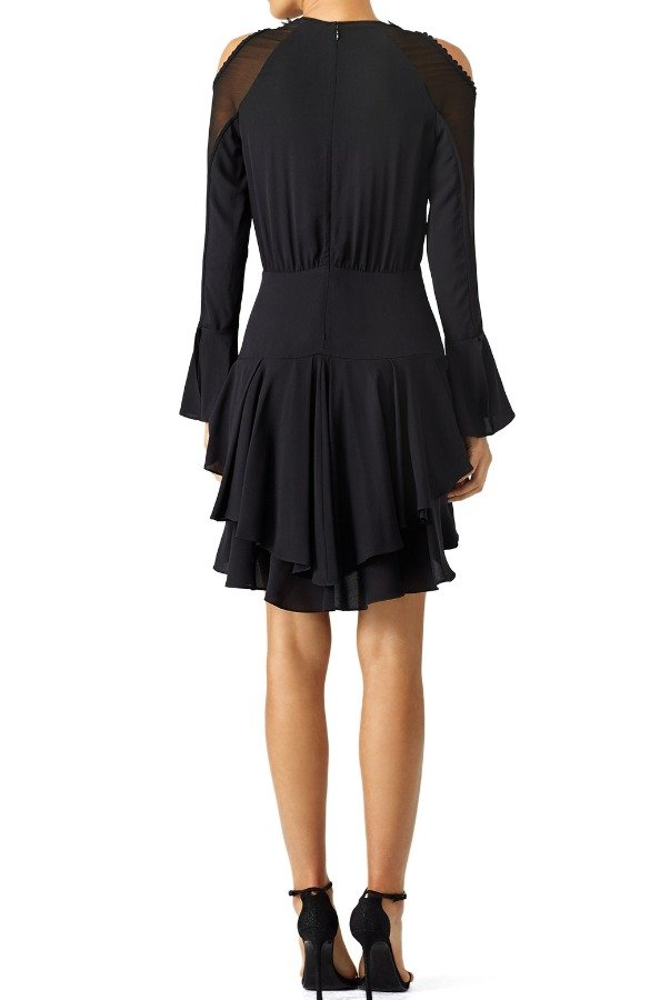 Yigal Azrouel Black Plume Cold Shoulder Ruffle Dress