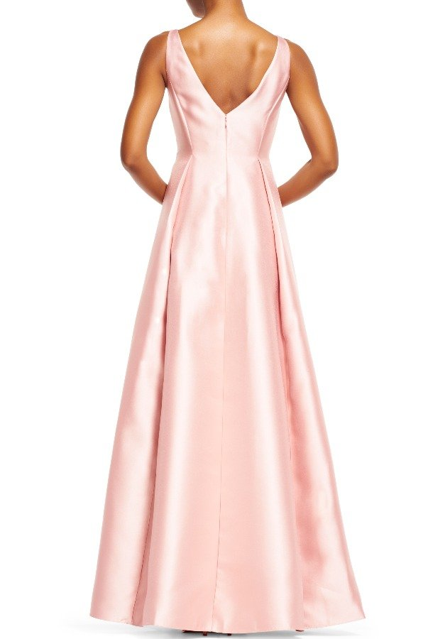 Adrianna Papell Blush Pink Mikado Ball Gown Satin Sleeveless Dress