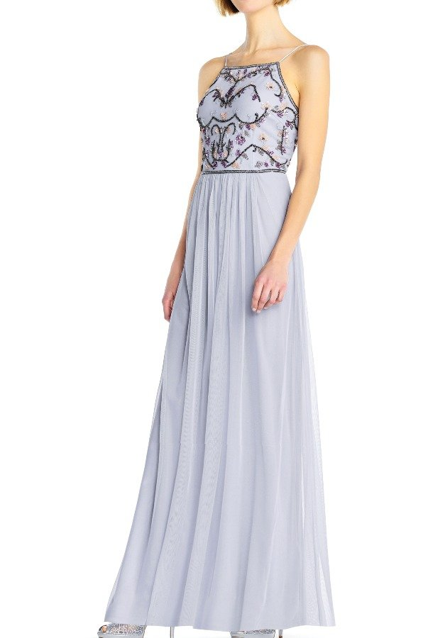 Adrianna Papell Serenity tulle halter gown with multicolor floral
