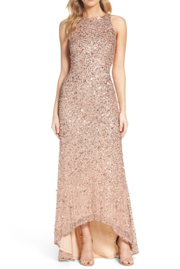 Adrianna Papell Rose Gold Beaded High Low Sleeveless Gown Dress