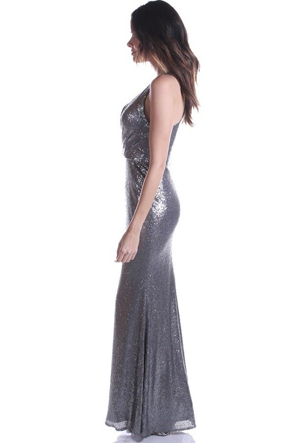 Shimmer Bari Jay 1601 Steel Silver Sequin Gown Dress