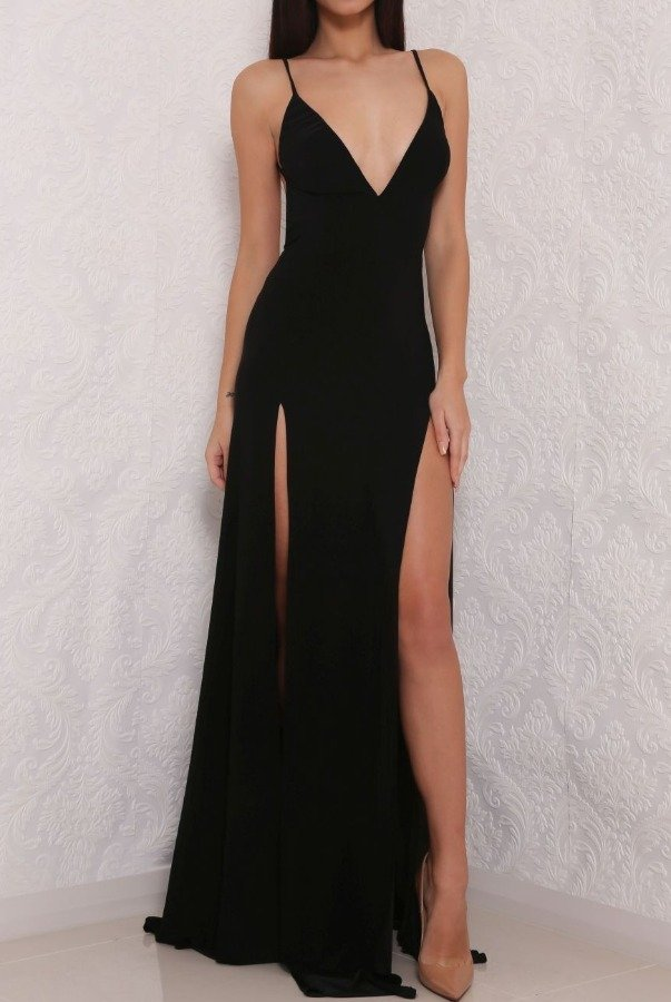 Abyss by Abby Elle Black Slinky Dress Open Back Evening Gown