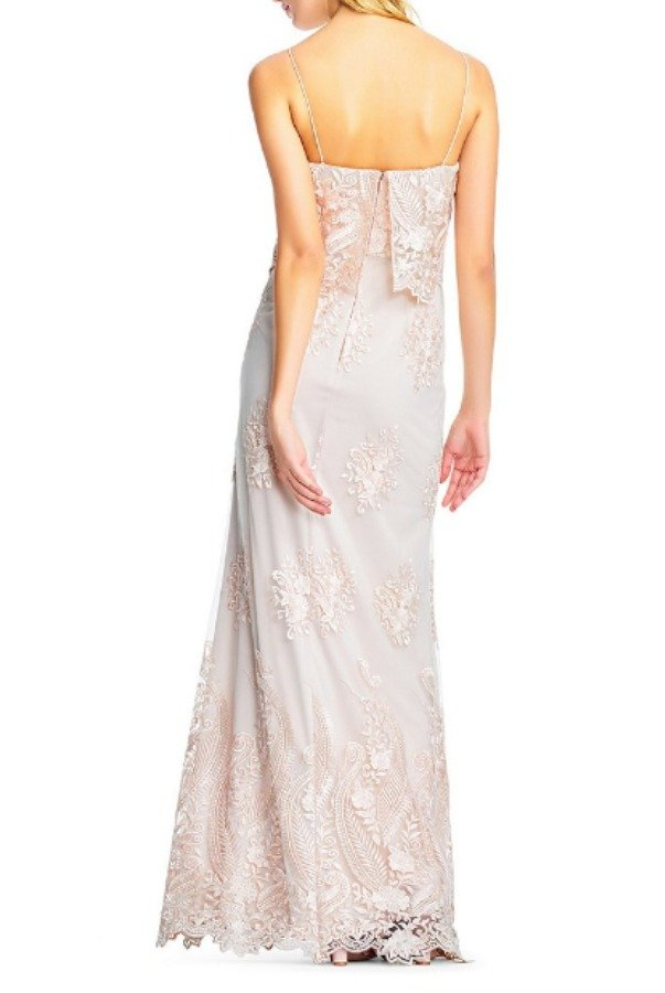 Adrianna Papell Embroidered Popover Gown Almond Wedding Dress