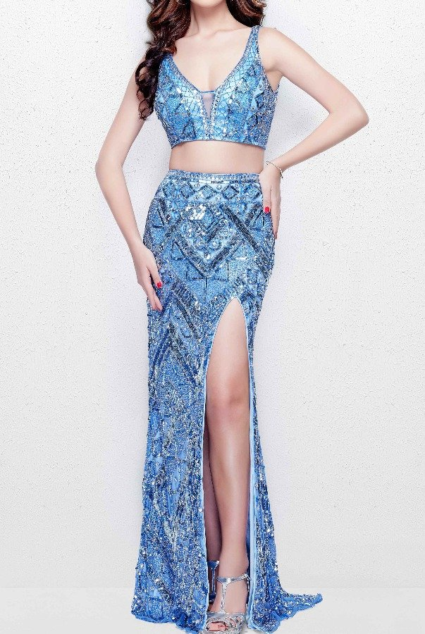 Primavera 3043 Blue Beaded Two Piece Evening Gown Prom Dress
