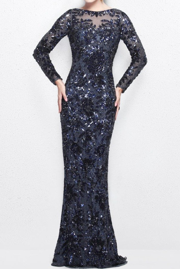 Primavera Couture 1401 Midnight Blue Long Sleeve Sequin Beaded Gown