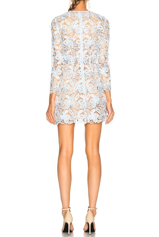 Self Portrait Light Blue 3D Lily Mini Dress