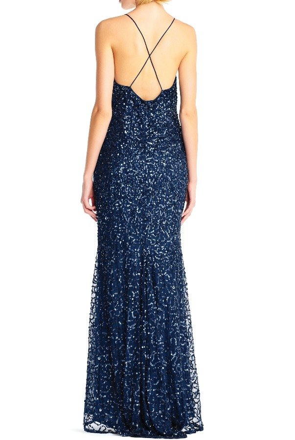 Adrianna Papell Halter Bodycon Navy Blue Sequin Dress Evening Gown
