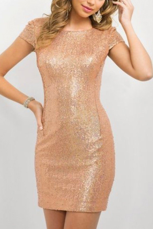 Blush Rose Gold Sequin Mini Homecoming Party Dress NYE