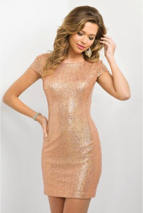 Blush Prom Rose Gold Sequin Mini Homecoming Party Dress NYE