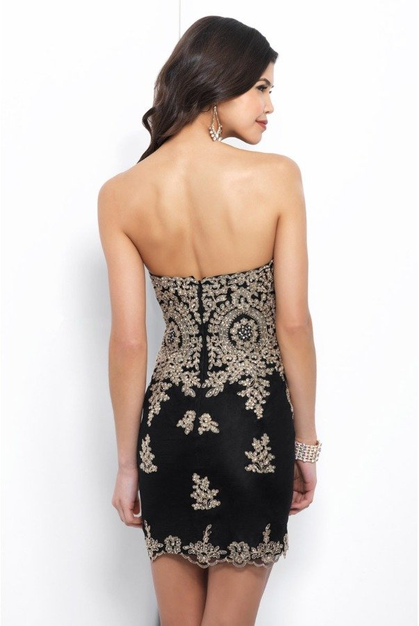 Blush Prom C404 Black Gold Strapless Applique Cocktail Dress
