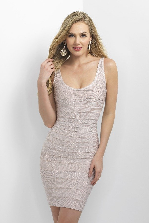 Blush Prom Shimmer Pastel Pink Bandage Cocktail Dress C369